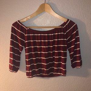 Hollister burgundy off the shoulder striped top